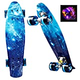 WeSkate Mini Cruiser Skateboard Retro Komplettboard, 22' 55cm Vintage Skate Board mit Kunststoff...