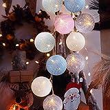 Cotton Ball Lichterkette, TENSUN 3m 20 LED Kugel Lichterketten mit USB, Baumwollkugeln Lichterkette für Innen, Weihnachten, Hochzeit, Garten, Party Deko