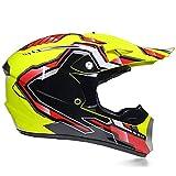 Super-ZS Motocross Helm, Schutzbrille + Handschuhe + Maske Profi Rallye Motorrad Helm Abnehmbarer Und Waschbarer Gelber Linienmuster Erwachsenenhelm Set