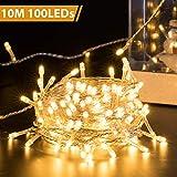 Quntis 10m 100 LED Lichterkette Außen Warmweiß, IP44 Wasserdicht, 8 Modi Weihnachtsbeleuchtung Strombetrieb Innen, LED Weihnachtsdekoration für Tannenbaum Fenster Balkon Terrasse Garten Zimmer Party