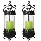 SIDCO Windlicht Metall 2 Stück Wandkerzenhalter Kerzenhalter Wandleuchter Wand Laterne