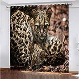 YUNSW Leopard Pattern 3D Digitaldruck Polyester Faservorhänge, Wohnzimmer Küche Schlafzimmer...