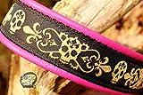 Hundehalsband Leder Le Fleur Skulls Totenköpfe Pink Zugstopp Halsband Handmade