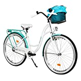 Milord. 28 Zoll 1-Gang Weiß Aquablau Komfort Fahrrad mit Korb Hollandrad Damenfahrrad Citybike...