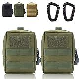Taktische Tasche MOLLE EDC Tasche Kompakte wasserfeste Utility Gadget Hängende Taillentasche Satteltasche zum Camping Wandern Outdoor Sport (2S-Green)