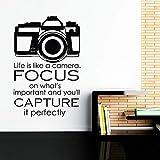 TYLPK Life Quotes Wandtattoo Kamera Vinyl Art Sticker Schwarz 57x85 cm