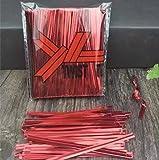 Kunststoffbindestreifen, mit innenliegendem Draht, zum Verschließen von Beuteln, 100 mm (4 Zoll), farbig, 100 Stück, red-800pcs