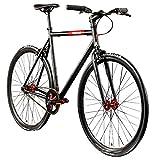 Chill Singlespeed 700c Fixie Bike Retro Fahrrad Fitnessbike Fixie 28' Rennrad (schwarz/rot, 56 cm)