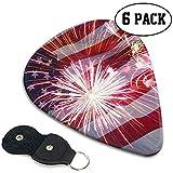 USA Flag Feuerwerk Plektren Celluloid Plektren, 6 Packungen im Etui für Gitarrenbässe