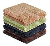 CH Linen Super Qualität Handtücher Set von 4 – Beste Verwendung, langlebig, bequem und Weltklasse-Handtücher. Handtuch – 16 x 27 kg/dz Farbe (Schokolade, Anthrazit, Salbei, Beige), 4 Stück