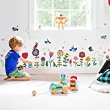 WandSticker4U®- Fensterbilder Kinderzimmer Bunte BLÜMCHEN I Wandbilder: 193x95 cm I Fenstersticker...