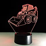 3D Nachtlicht Bulldozer Engineering Rover LED Illusionslampe, Partygeschenk, Raumbeleuchtung, Modernes Dekor, Kinderlampe, D - Remote Crack White (16 Farbe)