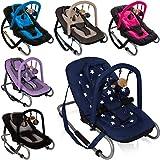 Babywippe BABY RELAX (Inklusive abnehmbarem Spielbogen) (Schwarz Blau)