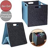 Filzbox 2er Filzkörbe Set 33x33x33cm Regalkorb mit 4 Griffen in 4 tollen Farbkombinationen aus...