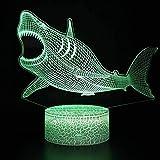 3D Phantomlicht Shark Shaped 3D Phantomlicht 7 Farbwechsel Phantom Touch Led Geschenk Dekoration...