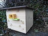 XXXL luxus Hummelkasten mit Wachsmottensperre, 2x Sichtfenster und Nistmaterial Imprägniert Wetterfest Bienenhaus Hummelhaus Nistkasten Hummelvilla Bienen Insektenhaus 🐝