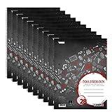 Landre Collegeblock A4, kariert, Rand links und rechts, 80 Blatt, rot, 10er Pack