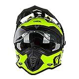 O'NEAL | Motorrad-Helm | Enduro Motorrad | Ventilationsöffnungen für maximalen Luftstrom & Kühlung, ABS-Schale, integrierte Sonnenblende | Sierra Helmet R | Erwachsene | Schwarz Neon Gelb | Größe S