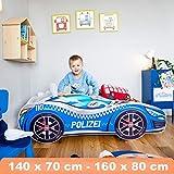 Kinderbett blau Autobett Pkw Polizei 140 x 70 cm Lattenrost und Matratze MDF beschichtet