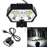 Fahrradlicht 6000LM 2 X CREE XM-L T6 LED USB Wasserdichter Lampenrad Fahrradscheinwerfer mit...