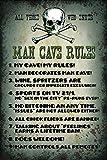 Man Cave Rules Regeln Totenkopf Blechschild Metallschild Schild gewölbt Metal Tin Sign 20 x 30 cm