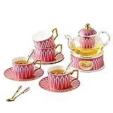 Einfache Europäischen Tee-Set Mit Kerze Warmer Glas Teekanne Blooming Ungeheftetes Teekessel for 4...