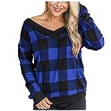 Supertong Damen V-Ausschnitt Jumper Langarm Plaid Pullover Herbst Winter Tartan Sweatshirt Casual...