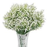 Homcomodar Real Touch Künstlich Gypsophila 12Pc Seidenblume Weiß für Hochzeit,Party,Braut, Büro...