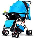 WYRRJ 【Neues Upgrade】 Leichte Spaziergänger Grande, stilvolle Sportkinderwagen, Baby-Buggy, faltbar, Liegen, Fußsack, von der Geburt bis 3,5 Jahre, 0-15 kg, Rot Stilvoller Kinderwagen (Color : Blue)