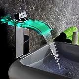 KunMai Wasserhahn mit LED-Wasserfall, gebogen, Glas-Auslauf, Einzel-Griff-DesignChrom/Antik-Schwarz,...