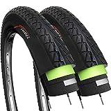 Fincci Paar 26 x 1,95 Zoll 53-559 Slick Reifen mit 2,5 mm Pannenschutz für Cityräder Rennräder...