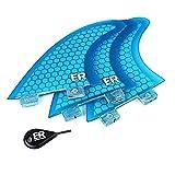 Eisbach Riders Surfboard FCS Fiberglass Honeycomb Fin Thruster Set mit Fin Key - Finnen Flossen für Surfbrett und SUP (Blau, Größe G5 - Medium)