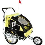HOMCOM 2 in 1 Jogger Kinderanhänger Fahrradanhänger Kinder Radanhänger mit Fahne Gelb-Schwarz