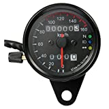 Gaetooely Motorrad Dual-Kilometerzaehler Tachometer Messgeraet LED-Hintergrundbeleuchtung kmh 12V Schwarz