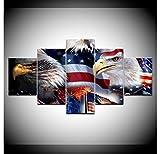 GTomorrow Leinwandbilder Bild Eagle Amerikanische Flagge 200X100Cm 5-Teiligen Leinwand Vlies...
