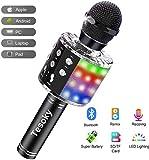 Karaoke Mikrofon mit Lichteffekte,Upgraded 4-in-1 Drahtloses Bluetooth Mikrofon für Kinder - Beste...
