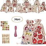 Moent Women Clothes Home Decor Weihnachtsmuster Candy Bag 1-24 Adventskalender Bundle Cotton Linen...