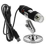 OrangeClub USB-Digitalmikroskop 1600X Vergrößerung 8 LED-Vergrößerungs-Endoskopkamera mit Tragetasche und Metallständer, für Windows 7/8/10 Mac Linux Android (mit OTG)