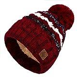 4sold Herren Damen Wurm Winter Style Beanie Strickmütze Mütze mit Fellbommel Bommelmütze Hat Gestrickte Pudelmütze Plain Ski Pom Wooly with Full Cosy Fleece-Futter (Maroon)