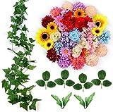 ETEREAUTY Kunstblumen, 47 Stück Deko Blumen mit Rebe und der blätter, ca. Ø 4-5 cm, 5 Sorten...