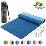 Lixada Yogamatte rutschfeste TPE Gymnastikmatte für Fitness Pilates mit Positionslinie mit...