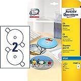 AVERY Zweckform C9660-25 selbstklebende CD-Etiketten (blickdichte CD-Aufkleber, Ø 117 mm SuperSize,...
