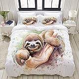 Miwaimao Bedding Bettwäsche-Set,Baby Faultier Aquarell,Mikrofaser Bettbezug und Kissenbezug - (135 x 200 cm)