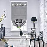 AMON LL Vorhänge Jacquard Raffrollo, Blumenmuster, graues Chenille, Fensterbehandlung, Vorhänge...