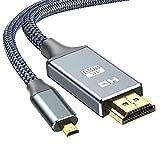 Micro HDMI Kable 1.8m,Snowkids Type Micro HDMI auf HDMI Kabel mit Ethernet,4K Ultra HD,3D,Full HD,1080p,HDR,ARC,Highspeed HDMI D auf HDMI A Kabel 2meters kompatibel mit HDMI Standard 2.0a/b,2.0,1.4a