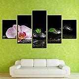 adgkitb canvas 5 Stücke Wandkunst Kerze Stein Bambus Blumen Moderne Leinwand Malerei Orient Art...
