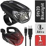 ANSMANN Fahrradlicht Set StVZO zugelassen - Akkubetrieben und aufladbar über USB, CREE LED,...