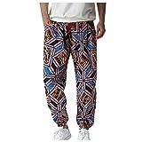 Jogginghose Herren aus Baumwolle Geometrisches Graffiti-Muster elastische Lange Hose mit Kordelzug und Trainingshose Fitnessstudio Beiläufig Urlaub