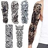 Full Arm temporäre Tattoos, VIUME extra temporär Tätowierung schwarz Klebe Tattoo Körperkunst...