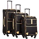 COOLIFE Stoff-Koffer Rollkoffer Leichtgewicht Reisekoffer Vergrößerbares Gepäck mit TSA-Schloss...